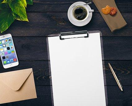 Coffee, Notepad, Mobile Phone, Envelope, Plant, Cookies