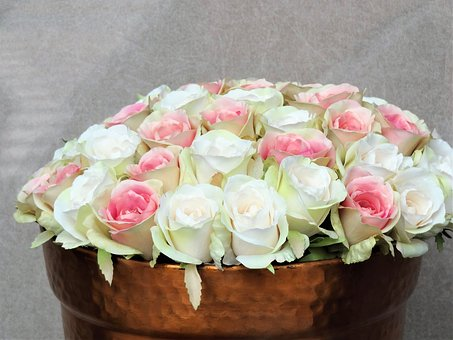 Rose, White, Pink, Jade Green, Flowers, Bouquet