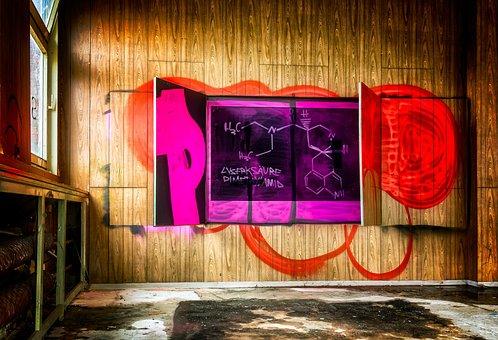 Lost Places, Graffiti, Board, School, Chemistry, Learn