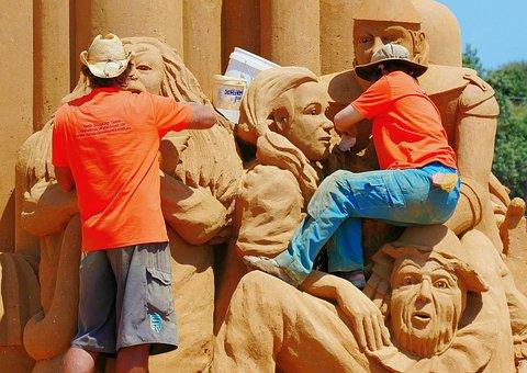 People, Men, Sand, Sand Sculpture, Sculpture