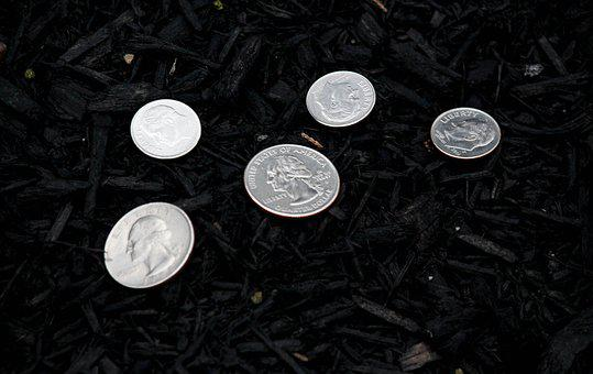 Coins, Money, Change, Dirt, Silver