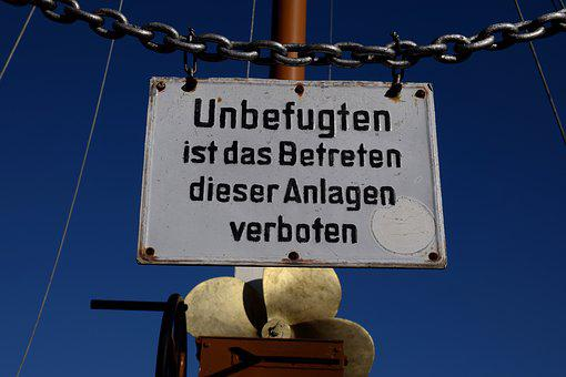 Warnschild, Blue Sky, Ship, Chain, Monument, Warning