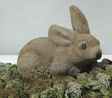 Hare, Figure, Moss, Faux Fur, Sculpture, Rabbit Ears