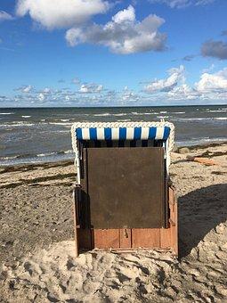 Beach, Sea, Sand, Waters, Coast, Beach Chair, Clouds