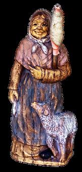 Figure, Grandma, Sheep, Old Woman, Ceramic, Sculpture