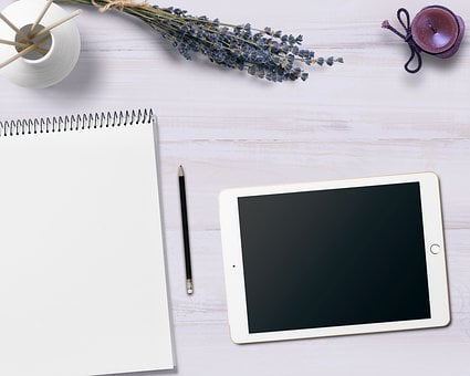 Notepad, Tablet, Table, Flowers, Candle, Decoration