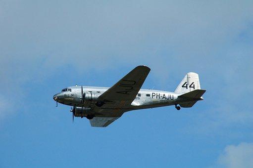 Plane, Aircraft, Douglas Dc 3, Fly, Air, Volkel