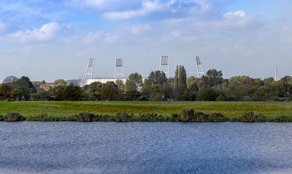Bremen, Weser Stadium, Werdersee, Waters, Nature, River