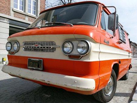 Van, Chevrolet, Orange, White, Automobile, Vehicle