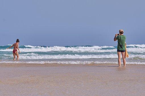 Woman, Sea, Swim, Wave, Photographer, Holiday, Water