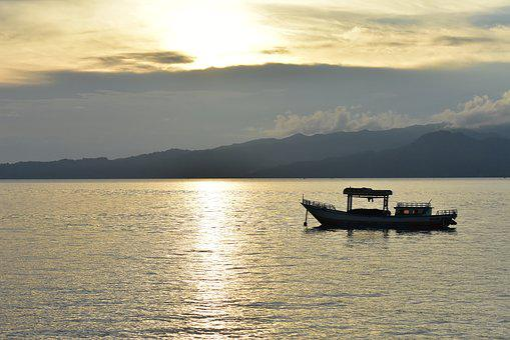 Boat, Water, Sunset, Amboina Bay, Sea, Cloud, Sky, Dawn