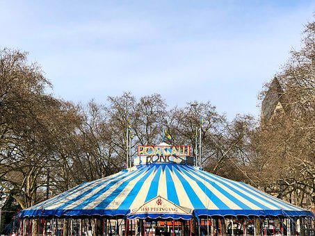 Circus, Roncalli, Circus Tent, Tent, Germany, Blue, Fun