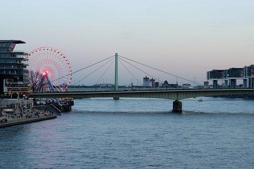 Cologne, Fair, Rhine, Ferris Wheel, Waters, River