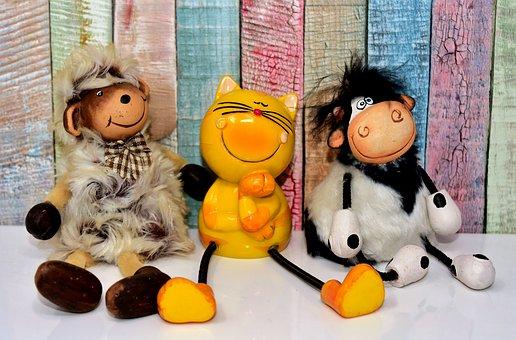 Friends, Figures, Sheep, Cow, Cat