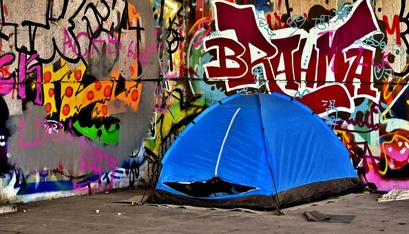 Homeless, Place To Sleep, Tent, Graffiti, Sad