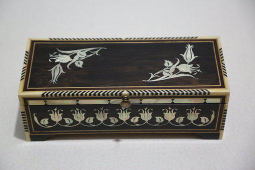 Antique, Wood, Pearl Inlay, Handmade