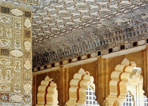 India, Rajastan, Amber, Architecture, Ceiling, Money