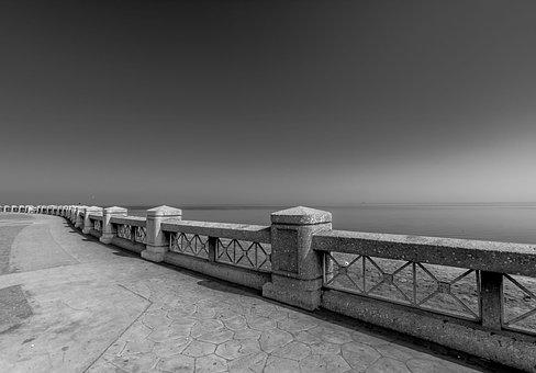 Monochrome, Water, Sky, Bridge, River, Black And White