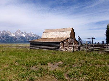 Building, America, Grange, Horizontal, Outdoor, Lawn