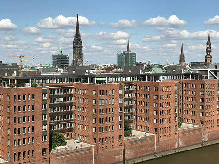 Hamburg, City, Architecture, Skyline, Sky