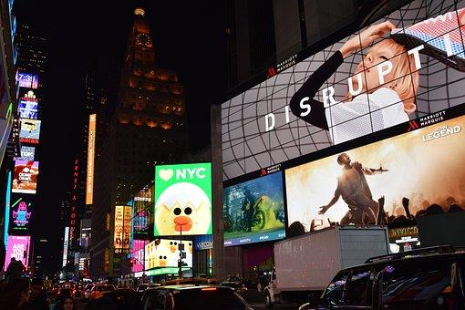 Times Square, Manhattan, Neon Sign, New York, Usa