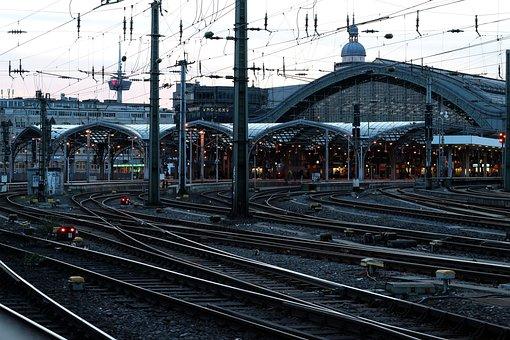 Railway Station, Cologne, Gleise, Train, Railway
