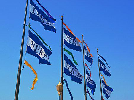 Flag, Pole, Poles, Wind, Outdoors, Sky, Banner
