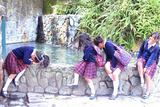 Banos, School Girls, Waterfall, Fountain, Hair, Ecuador