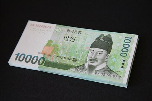 Money, Bills, Don, 10 000 Usd, Krw, Korea Money