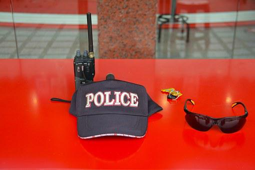 Police Hat, Cap, Black, Military, Law, Badge, Work