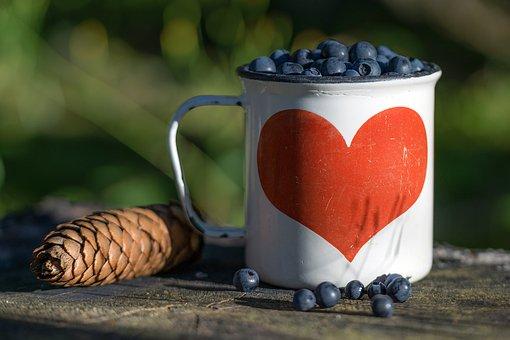 Blueberry, Cone, Mug, Heart, Berry, Summer, Nature
