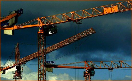 Crane, Sky, Site, Build, Baukran, Lift Loads, Crane Arm