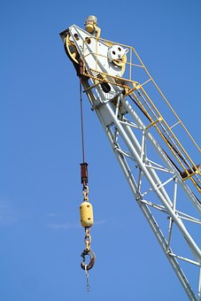 Crane, Jib, Sky, Blue, Hook, Construction, Lift, High