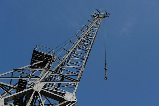 Crane, Jib, Sky, Blue, Industrial, Lift, Hook, High