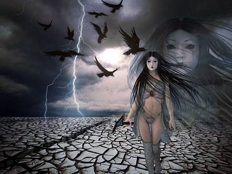 Warrior, Desert, Thunderstorm, Dehydrated, Dramatic