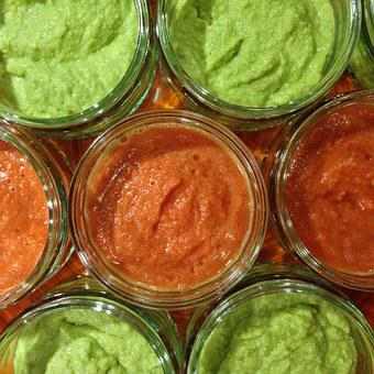 Dips, Sauces, Glass, Avocado, Tomatoes, Delicious, Eat
