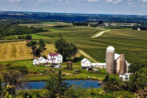 Iowa, Landscape, Scenic, Farm, Silo, House, Barn, Pond