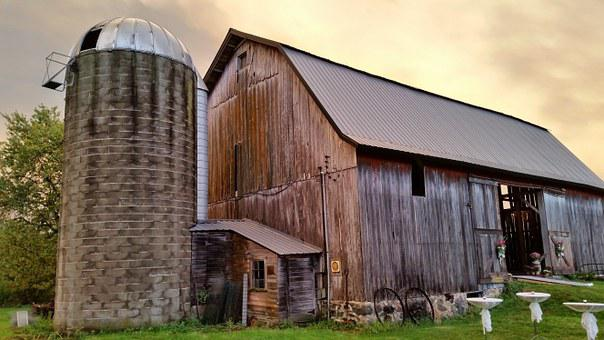 Barn, Silo, Farm, Summer, Farming, Wisconsin, Usa