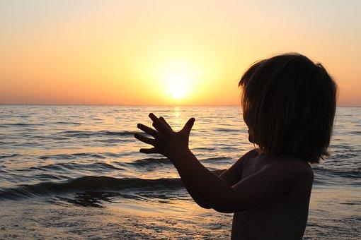 Sunrise, Girl, Children, Silhouette, Solar, Water, Sea