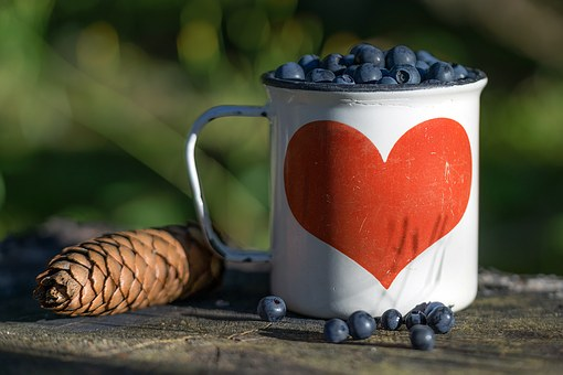Blueberry, Cone, Mug, Heart, Berry, Summer, Nature
