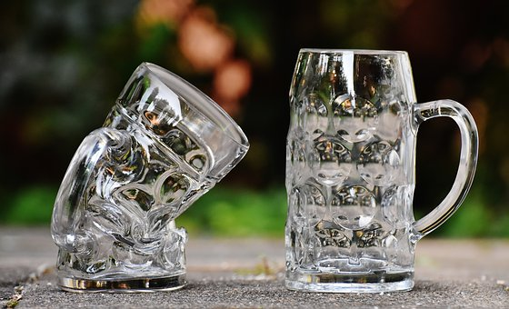 Beer Mugs, Deformed, Kink, Funny, Glass, Large Glass