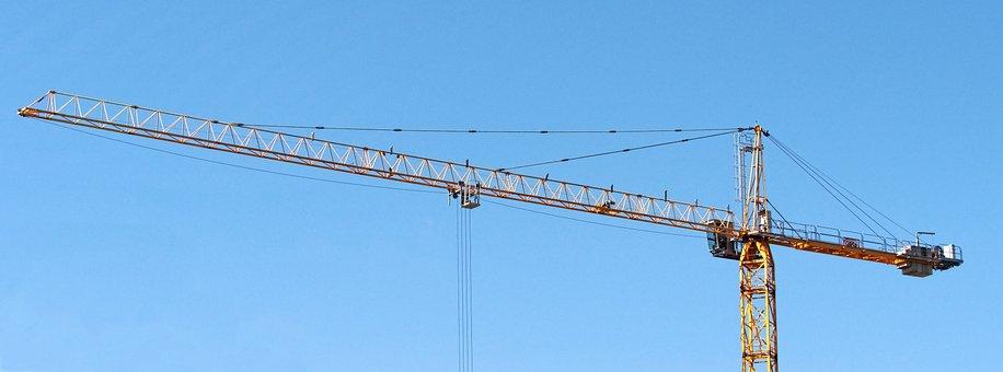 Crane, Tall, Tower, Banner, High, Construction, Mast