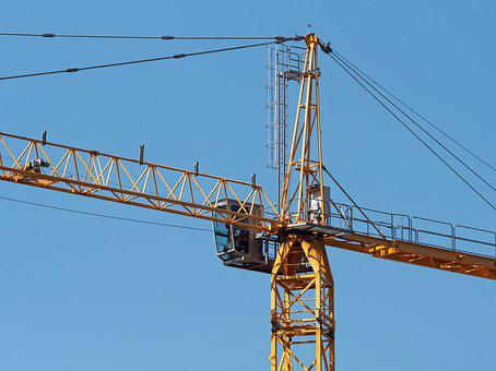 Crane, Tall, Tower, High, Construction, Mast, Jib