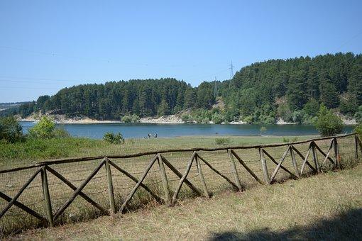 Calabria, Sila, Lake, Sun, Pini, Picket Fence, Mountain