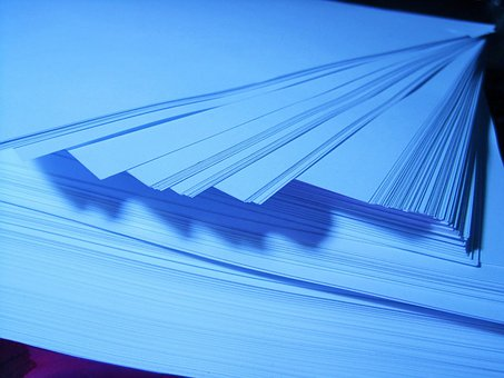 Paper, Ream, Stack, Blue, Re-arranged, Fanned Out