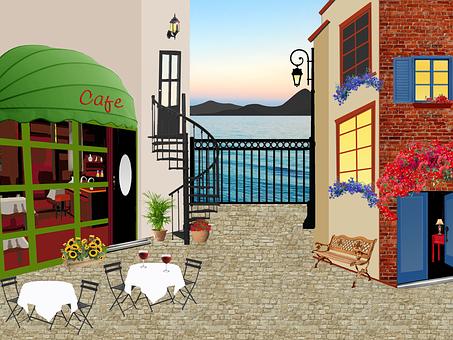 Restaurant, House, Terrace, Table, Tablecloth, Ocean