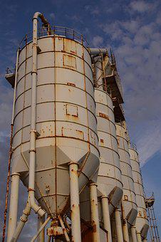 Port, Silo, Cement Silo, Stock, Silo At The Port