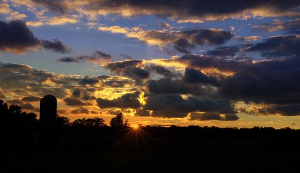 Farm, Silo, Sunset, Indiana, In, Elkhart, Hoosier