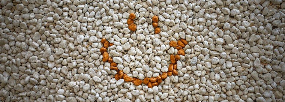 Smile, Stone, Gravel, White, Pattern, Texture