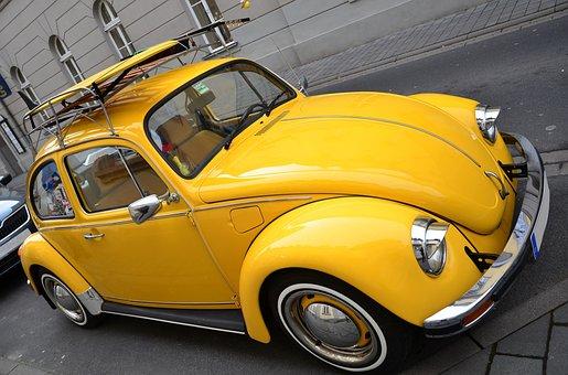 Vw Beetle, Yellow Beetle, Volkswagen Vw, Auto, Classic